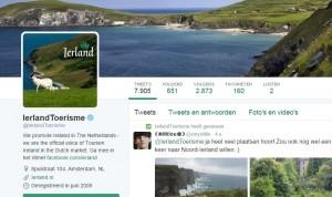 Het Twitteraccount van Toerisme Ierland